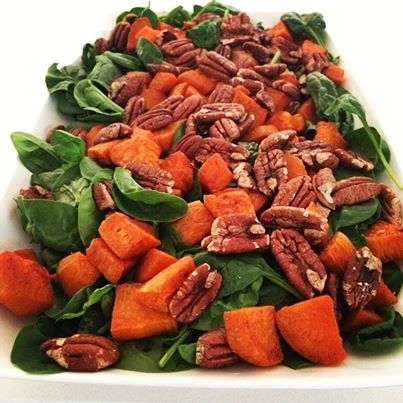 Cinnamon-roasted Sweet Potato and Pecan Salad